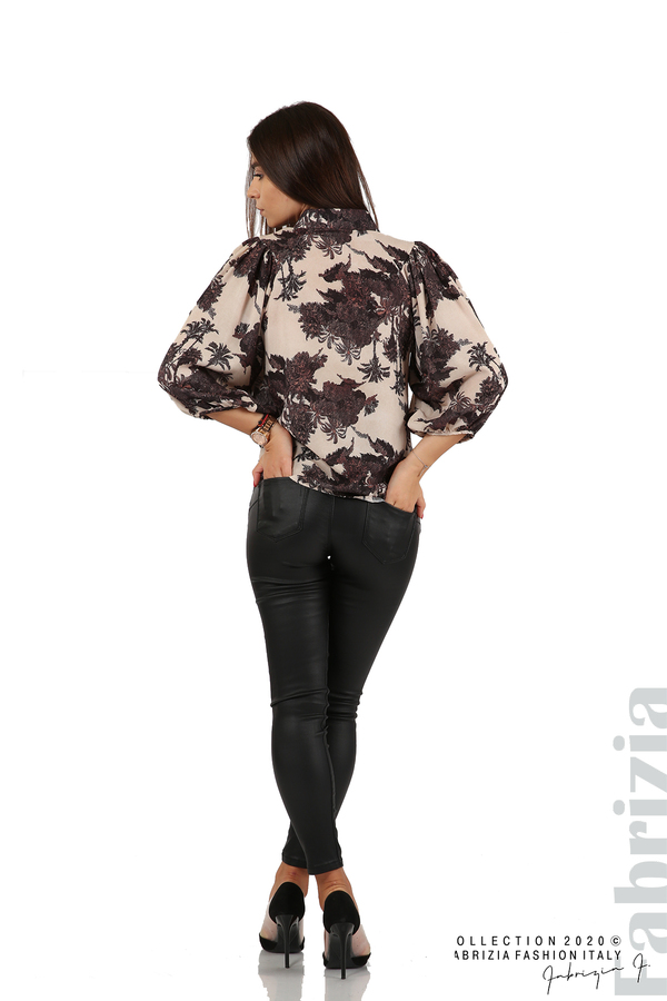Дамска риза на цветя черен 3 fabrizia