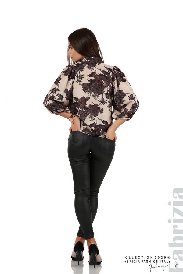 Дамска риза на цветя бежов 6 fabrizia