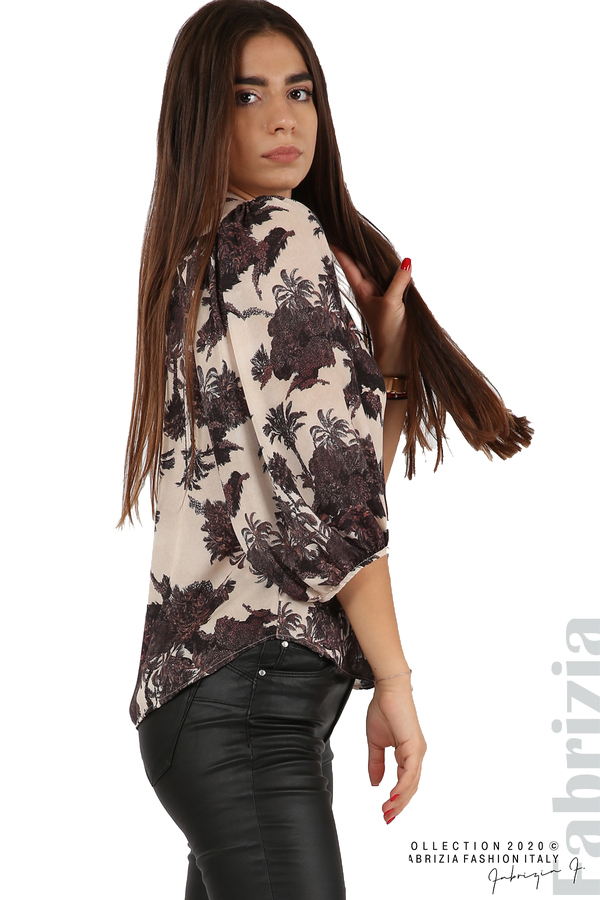 Дамска риза на цветя бежов 2 fabrizia