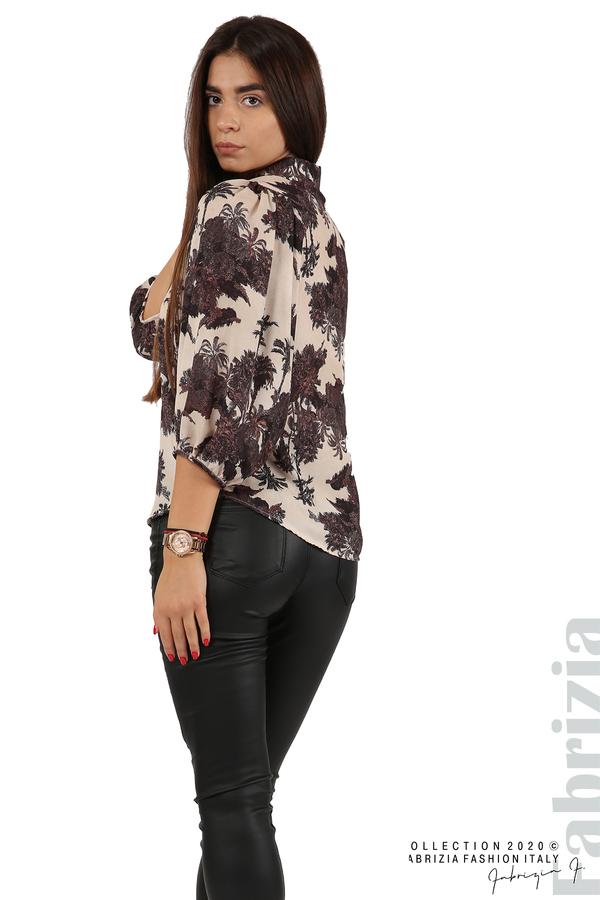 Дамска риза на цветя бежов 5 fabrizia