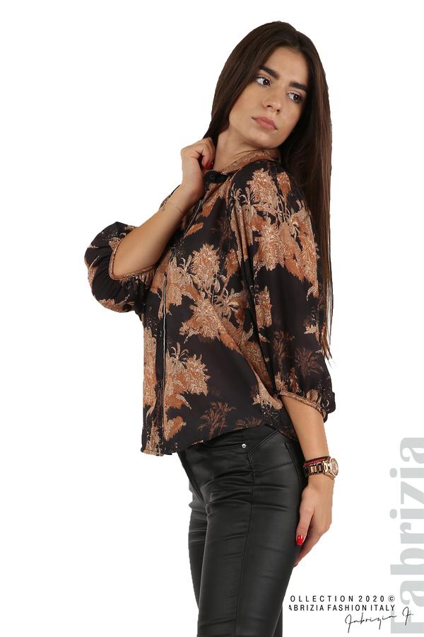 Дамска риза на цветя черен 2 fabrizia
