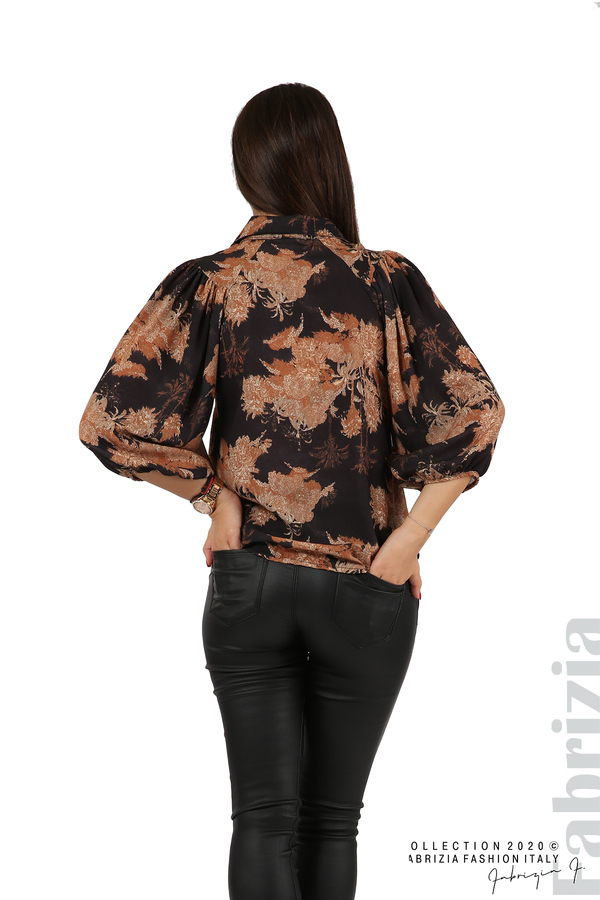 Дамска риза на цветя черен 5 fabrizia