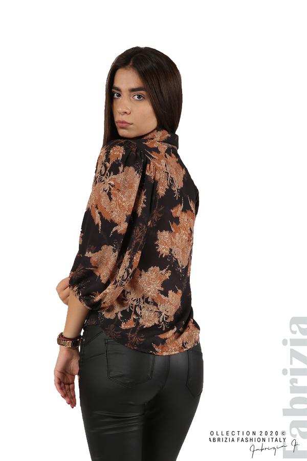 Дамска риза на цветя черен 4 fabrizia