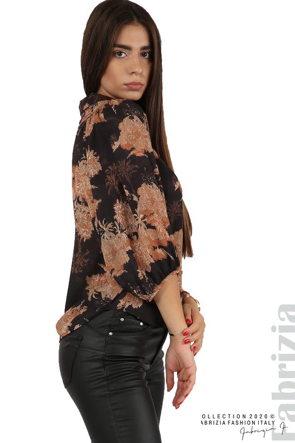Дамска риза на цветя черен 6 fabrizia