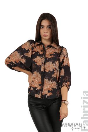 Риза с щампа флорални мотиви и буфан ръкав
