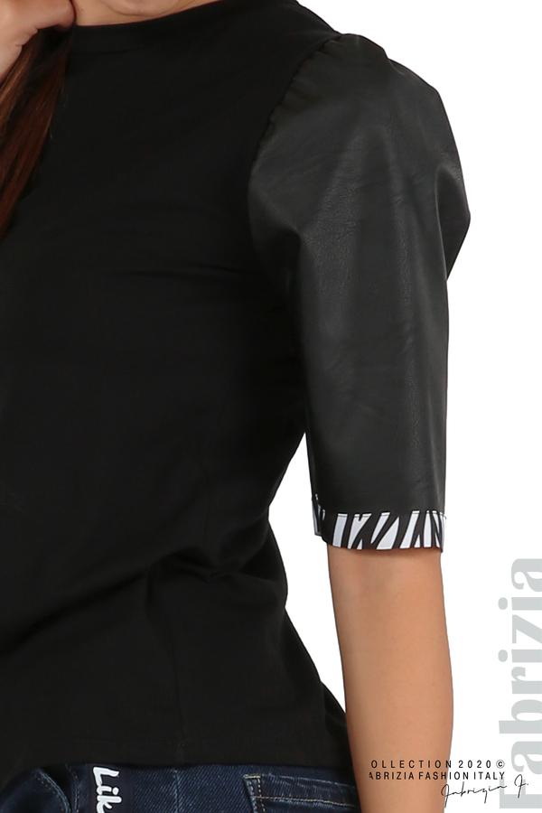 Дамска блуза с кожени буфан ръкави черен 3 fabrizia