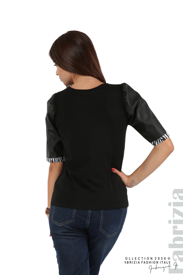 Дамска блуза с кожени буфан ръкави черен 6 fabrizia