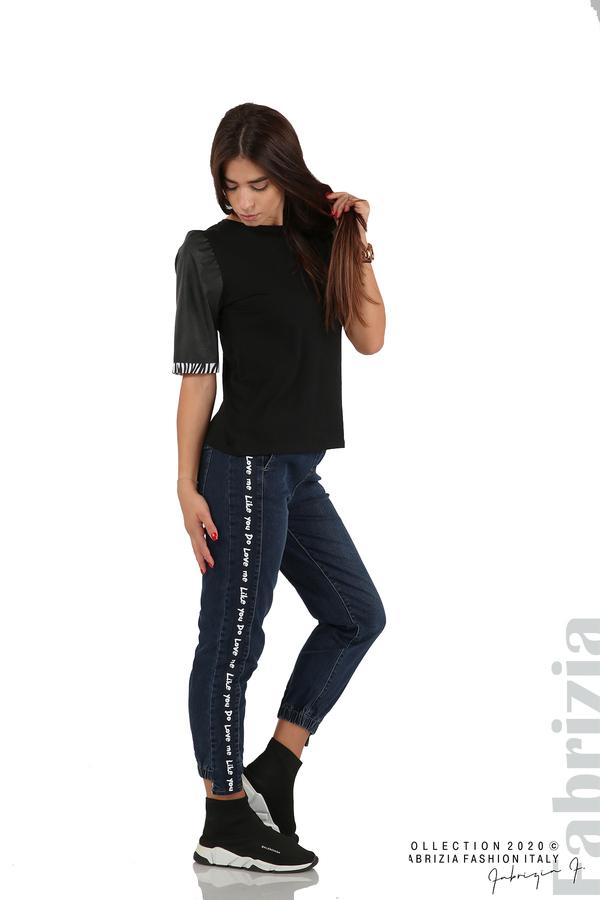 Дамска блуза с кожени буфан ръкави черен 4 fabrizia