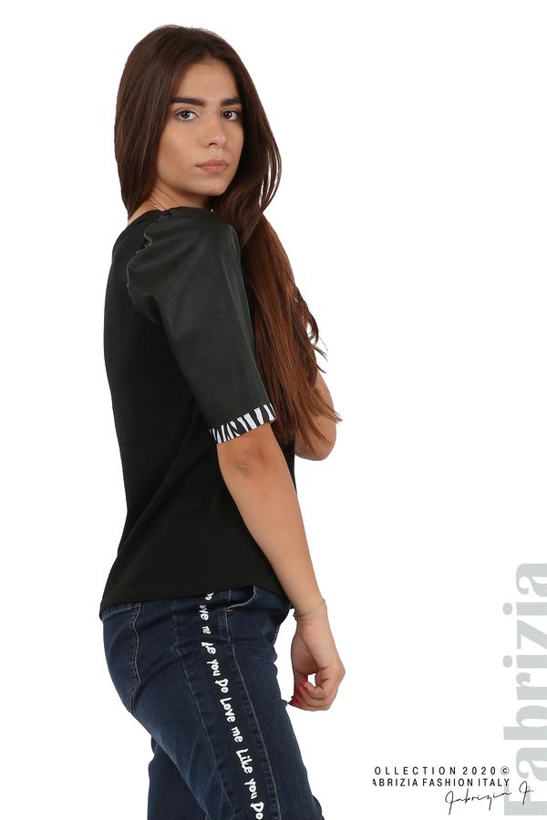 Дамска блуза с кожени буфан ръкави черен 2 fabrizia