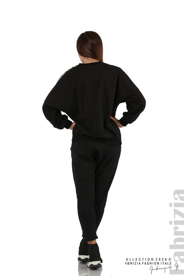 Свободна блуза с акцент на рамото черен 7 fabrizia