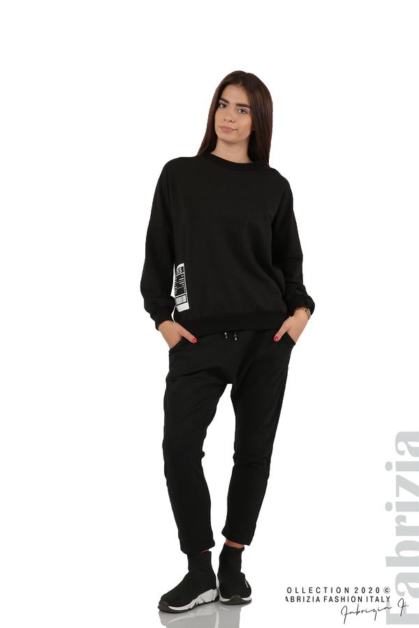 Свободна блуза с акцент на рамото черен 3 fabrizia