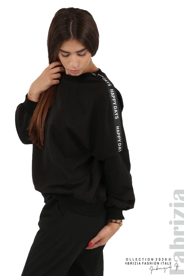 Свободна блуза с акцент на рамото черен 4 fabrizia