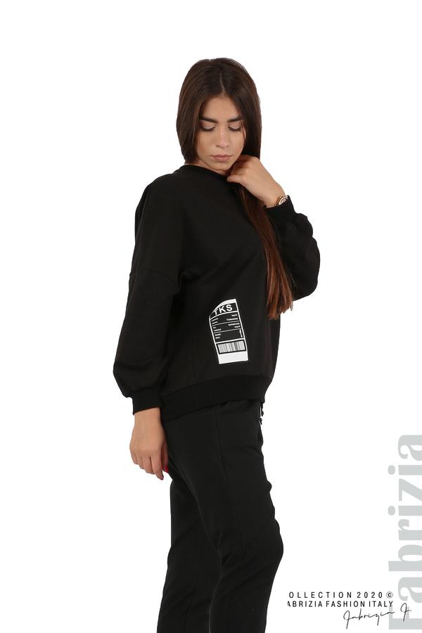 Свободна блуза с акцент на рамото черен 1 fabrizia