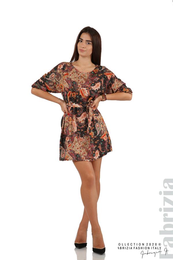 Къса рокля с колан и набрани ръкави многоцветен 1 fabrizia