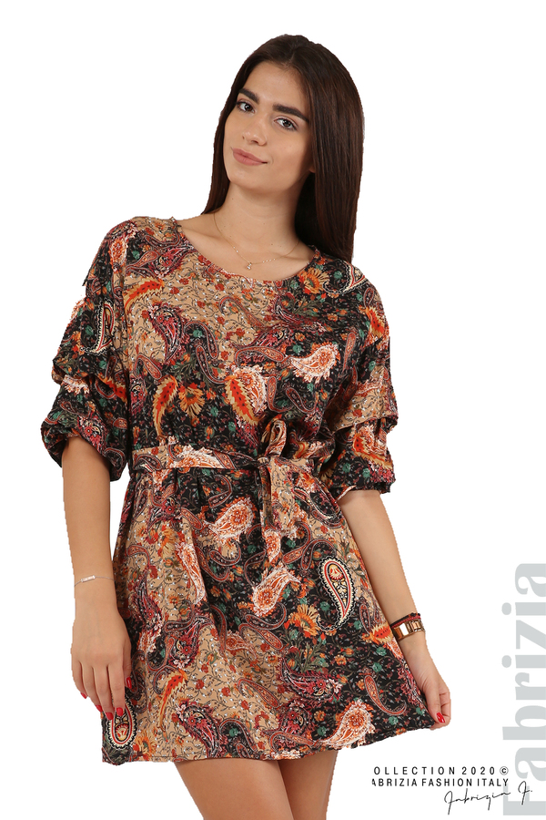 Къса рокля с колан и набрани ръкави многоцветен 2 fabrizia