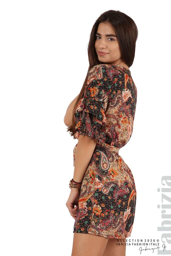 Къса рокля с колан и набрани ръкави многоцветен 5 fabrizia