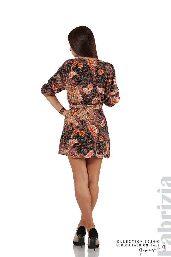 Къса рокля с колан и набрани ръкави многоцветен 6 fabrizia