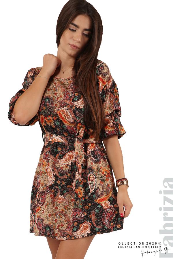 Къса рокля с колан и набрани ръкави многоцветен 4 fabrizia