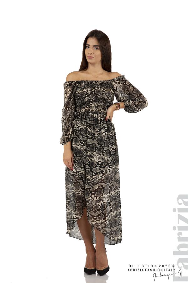 Ефирна рокля с голи рамене бежов 1 fabrizia