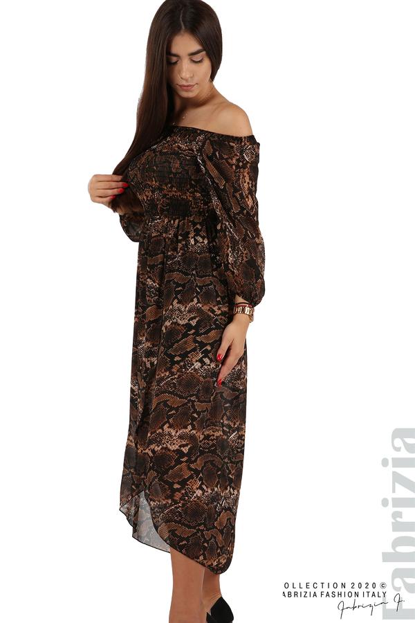 Ефирна рокля с голи рамене кафяв 1 fabrizia