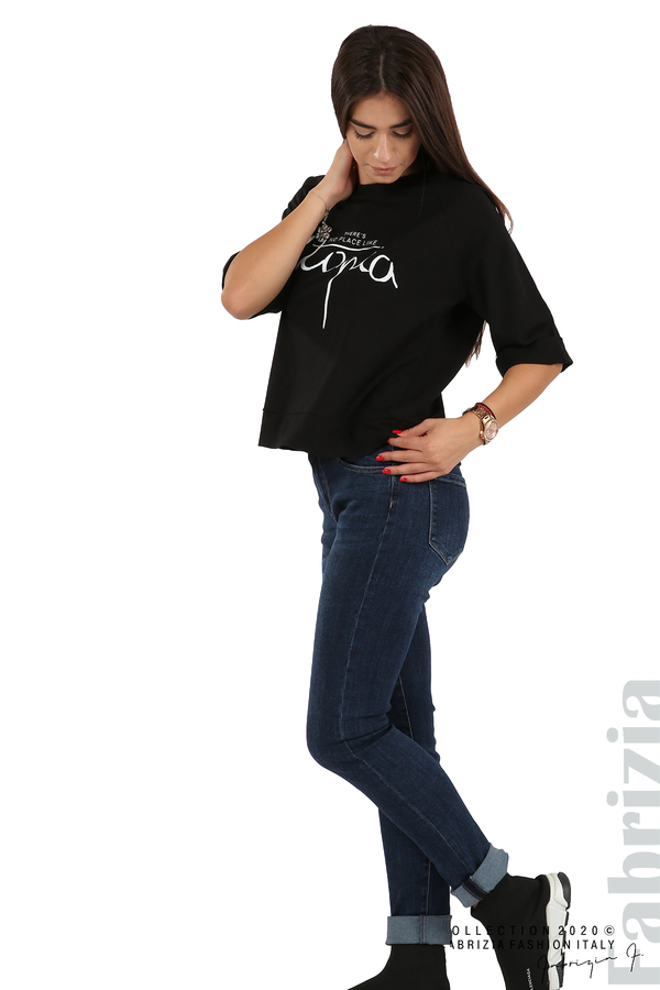 Дамска блуза с надпис Utopia черен 3 fabrizia