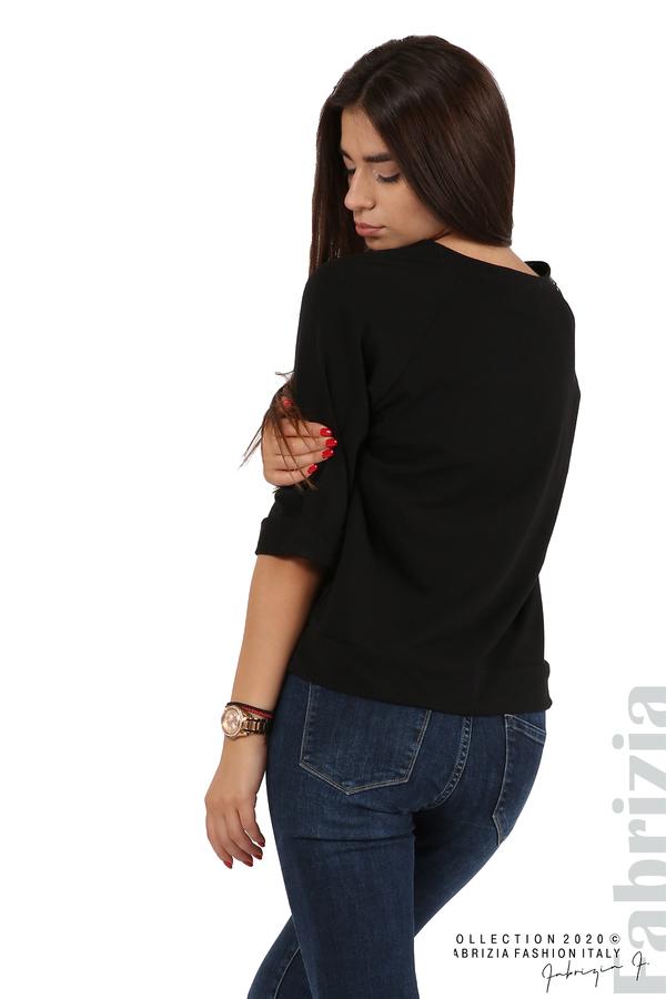 Дамска блуза с надпис Utopia черен 5 fabrizia