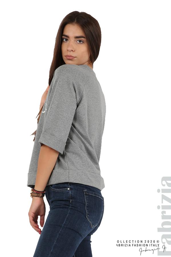Дамска блуза с надпис Utopia сив 3 fabrizia