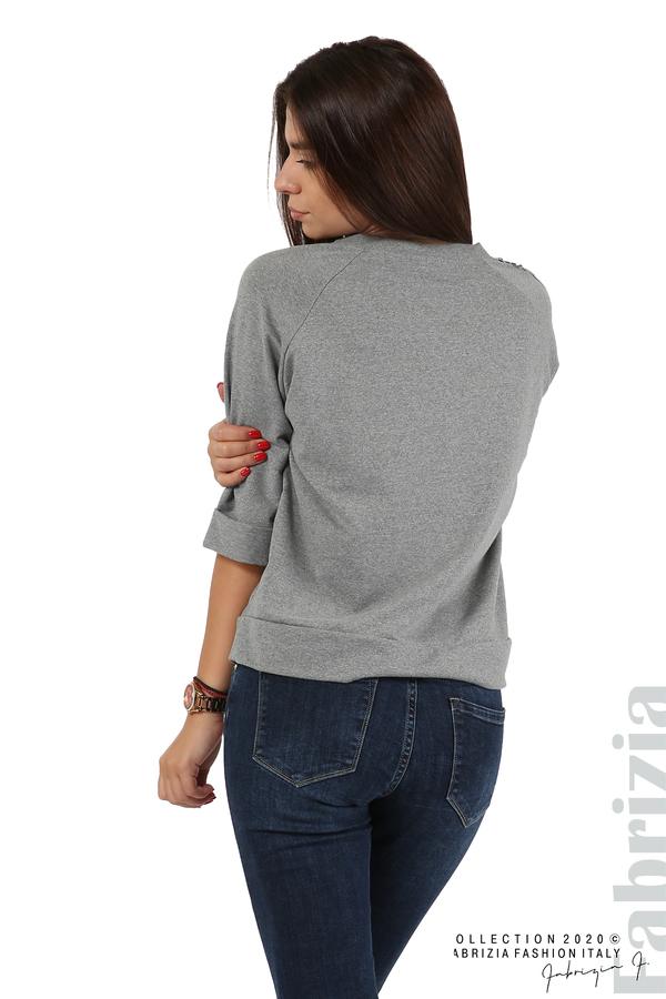 Дамска блуза с надпис Utopia сив 5 fabrizia