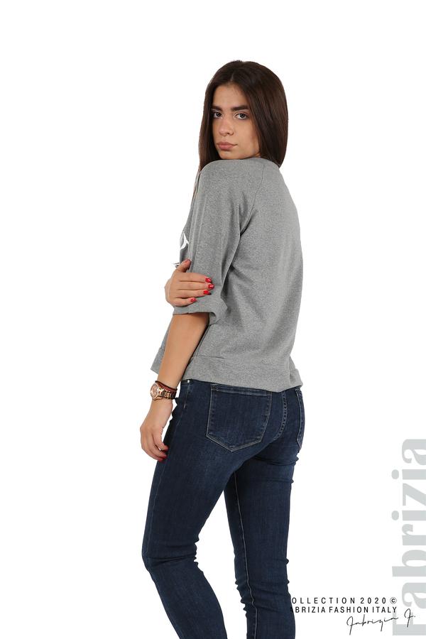 Дамска блуза с надпис Utopia сив 4 fabrizia