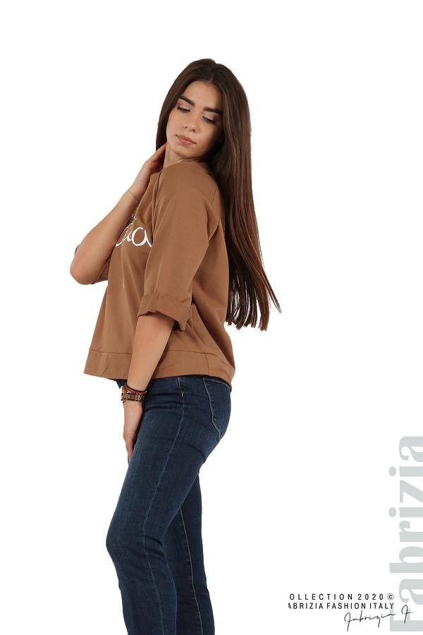 Дамска блуза с надпис Utopia кафяв 4 fabrizia