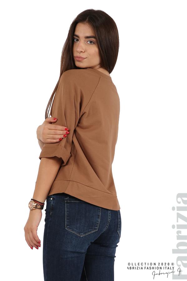 Дамска блуза с надпис Utopia кафяв 5 fabrizia