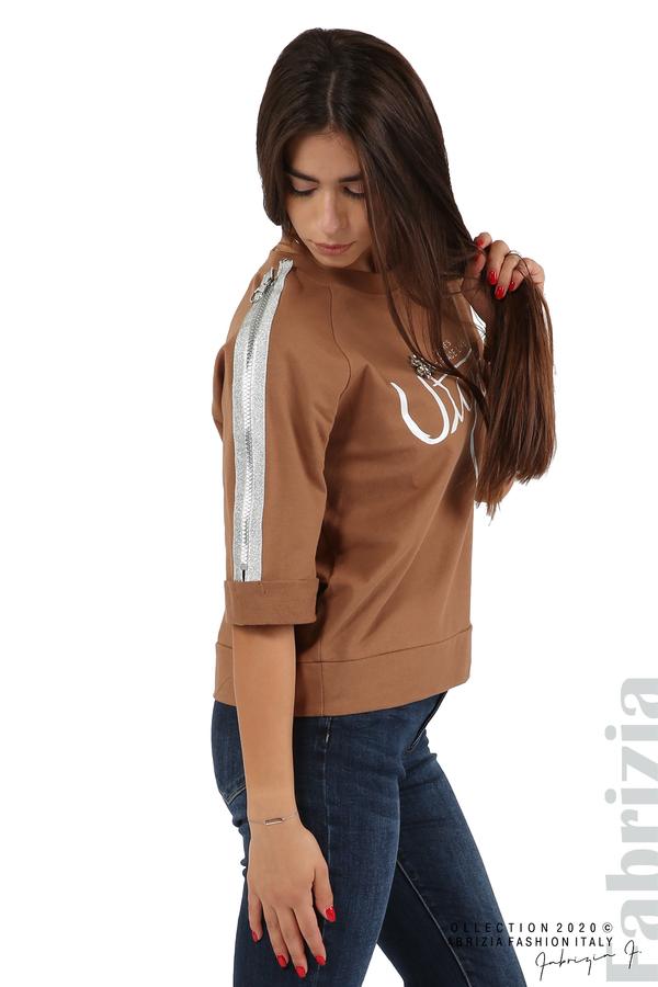 Дамска блуза с надпис Utopia кафяв 2 fabrizia