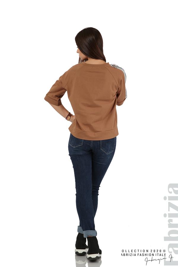 Дамска блуза с надпис Utopia кафяв 6 fabrizia