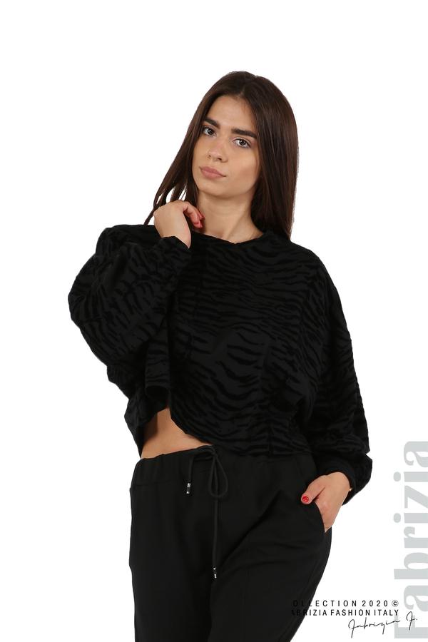 Свободна блуза с кадифени елементи черен 1 fabrizia