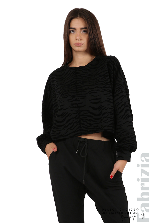 Свободна блуза с кадифени елементи черен 2 fabrizia