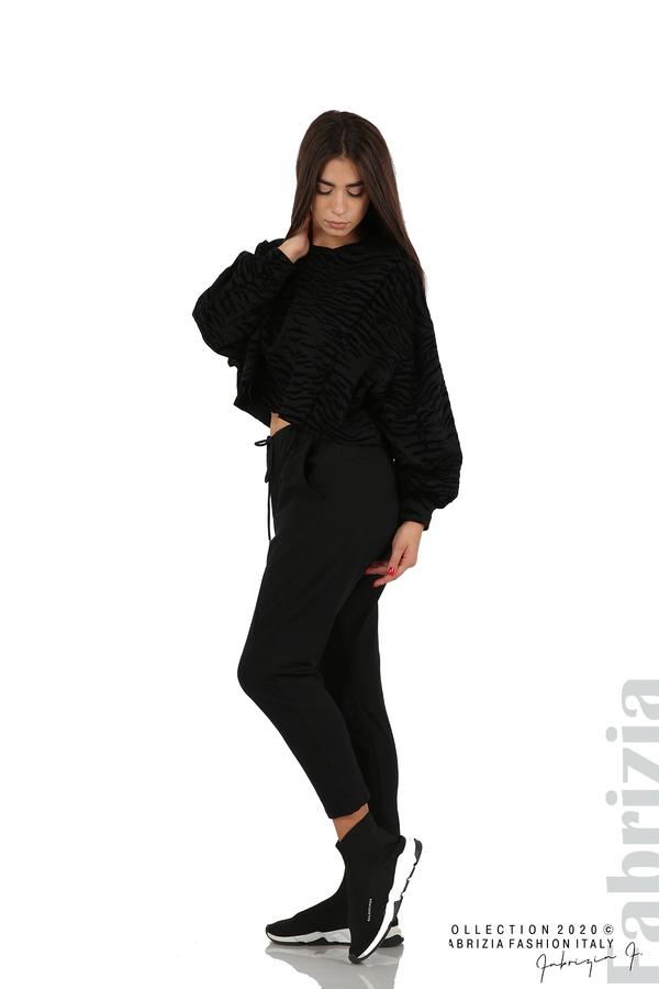 Свободна блуза с кадифени елементи черен 3 fabrizia
