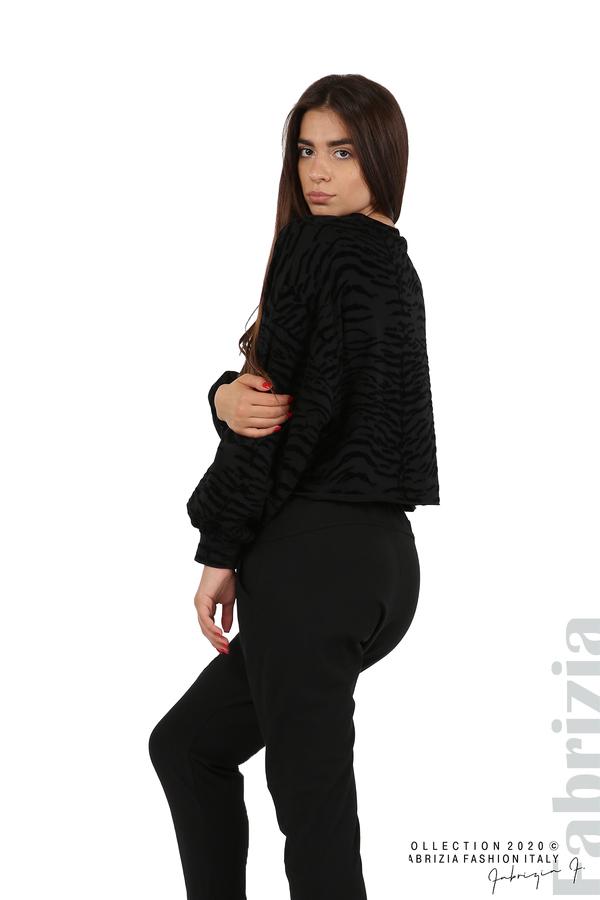 Свободна блуза с кадифени елементи черен 4 fabrizia