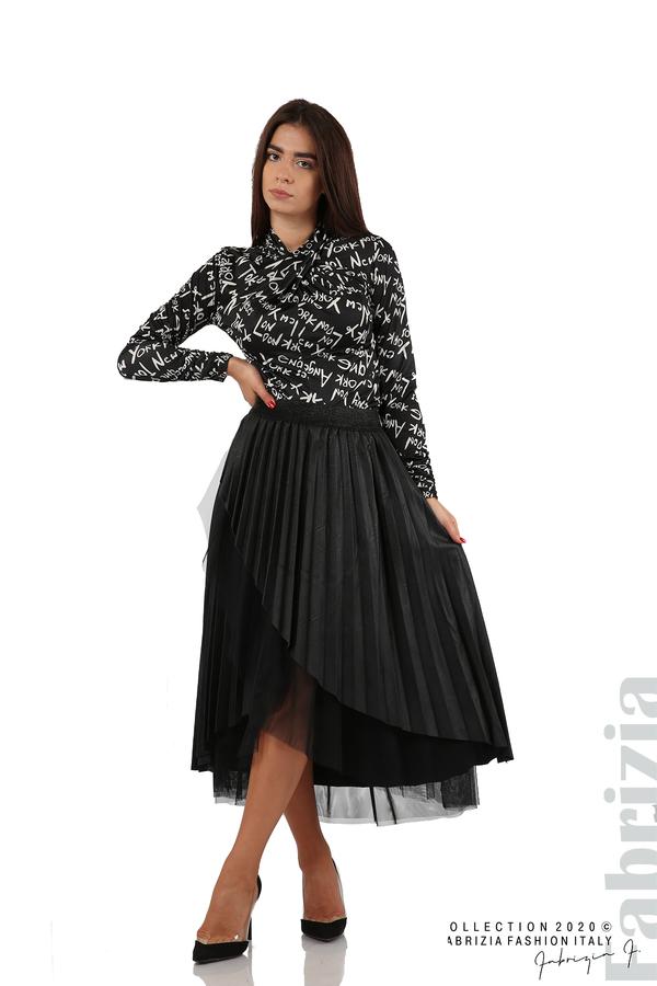 Кожена пола с тюл-черен-1