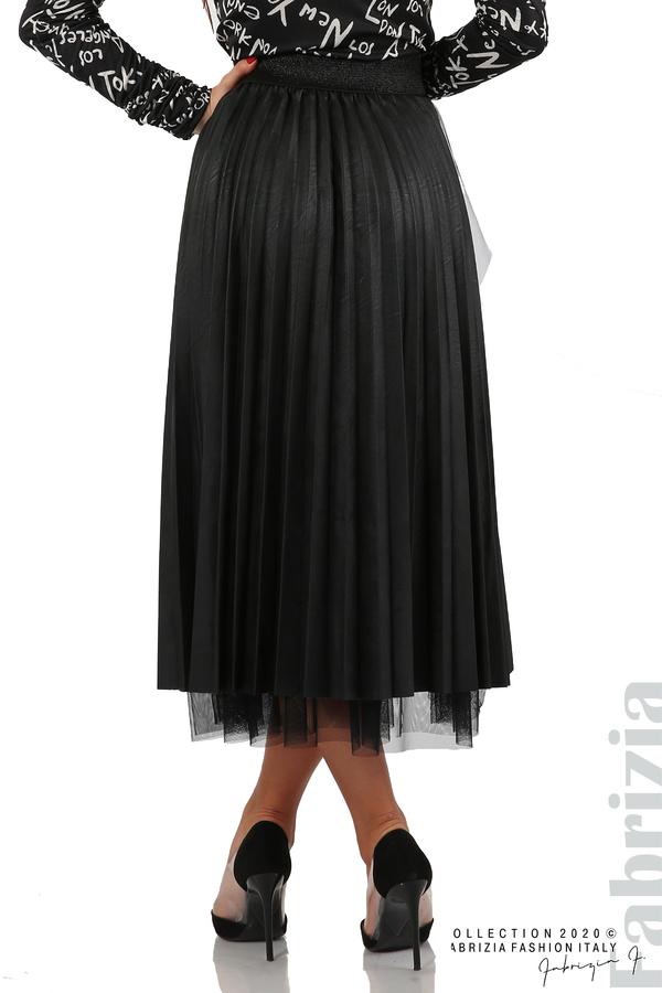 Кожена пола с тюл-черен-6