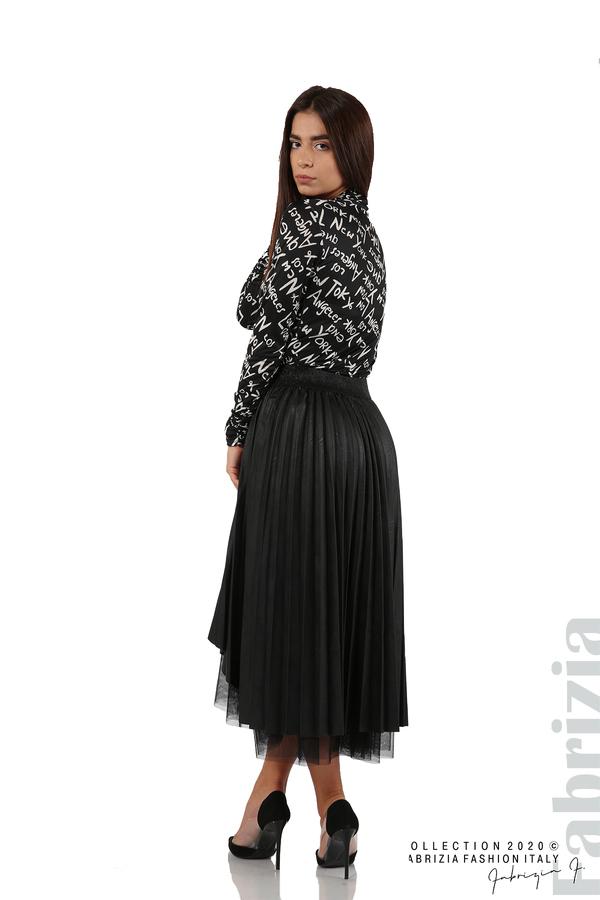Кожена пола с тюл-черен-5