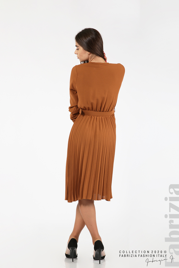 Рокля с плисирана пола и колан кафяв 7 fabrizia