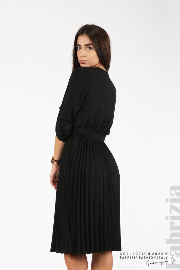 Рокля с плисирана пола и колан черен 6 fabrizia