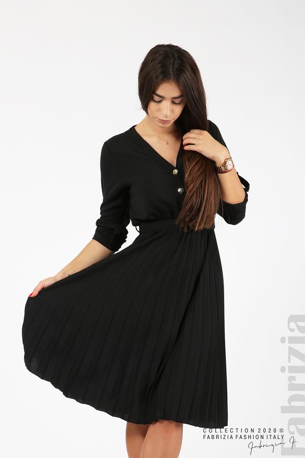 Рокля с плисирана пола и колан черен 1 fabrizia