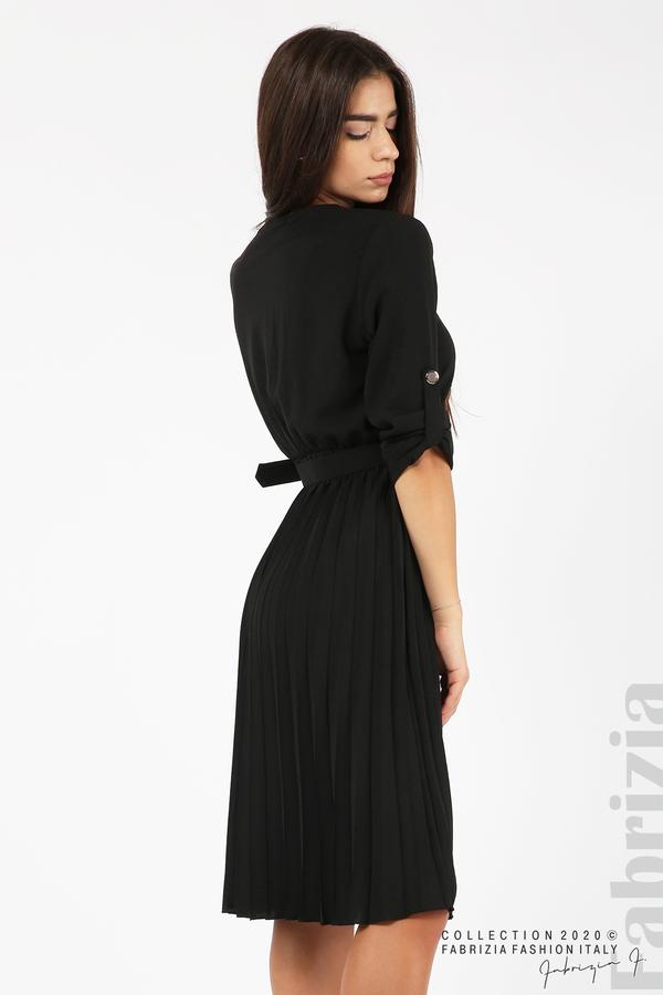Рокля с плисирана пола и колан черен 4 fabrizia
