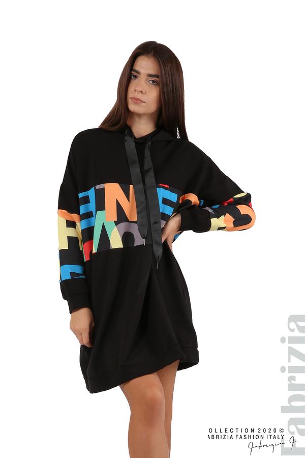 Рокля с цветни букви и качулка черен 1 fabrizia