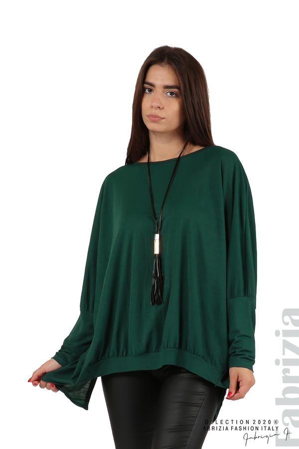 Свободна блуза с цепка на гърба и аксесоар т.зелен 1 fabrizia