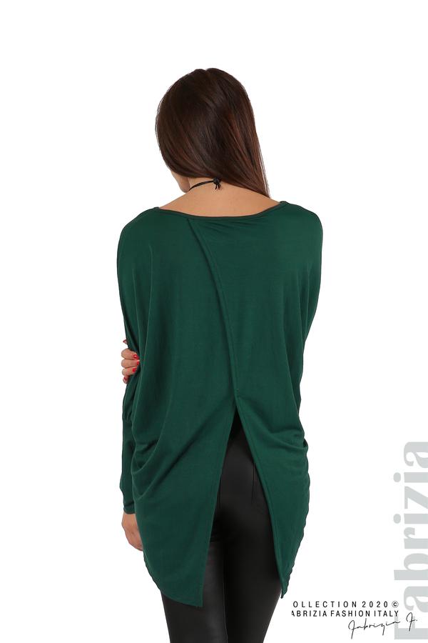 Свободна блуза с цепка на гърба и аксесоар т.зелен 6 fabrizia