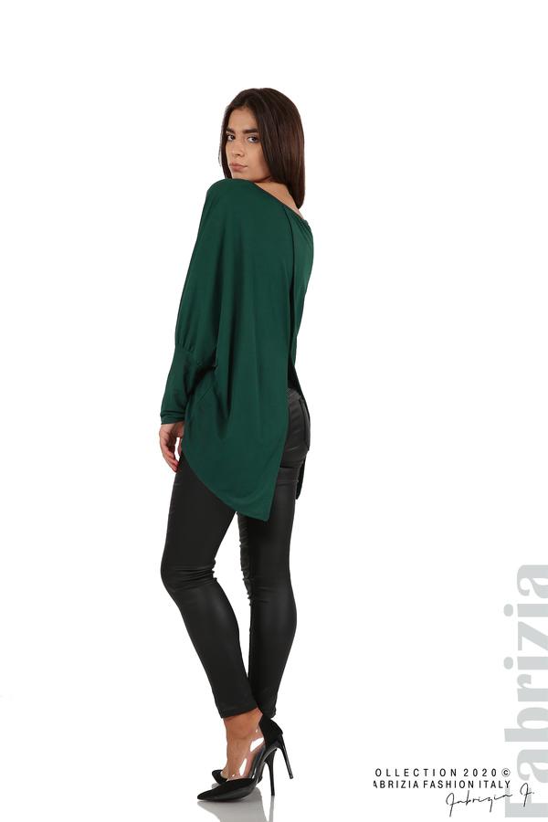 Свободна блуза с цепка на гърба и аксесоар т.зелен 4 fabrizia