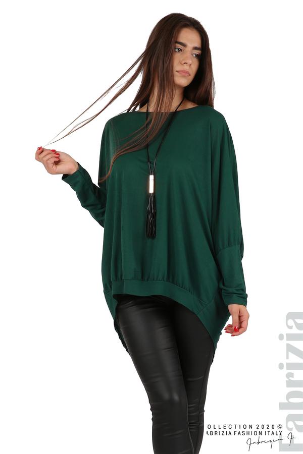 Свободна блуза с цепка на гърба и аксесоар т.зелен 3 fabrizia
