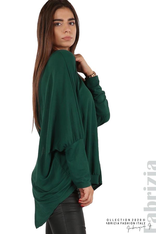Свободна блуза с цепка на гърба и аксесоар т.зелен 2 fabrizia
